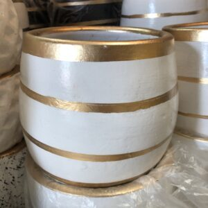 Pots Pot with gold lines (Base color white) furniture