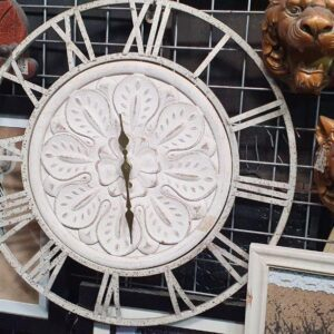 Clocks Metal White Floral Clock clocks